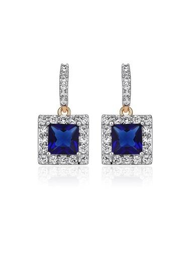Tophills Diamond Co. 0,90 Ct Pırlanta Efekt Altın Sapphire Princess Vera Küpe Renkli